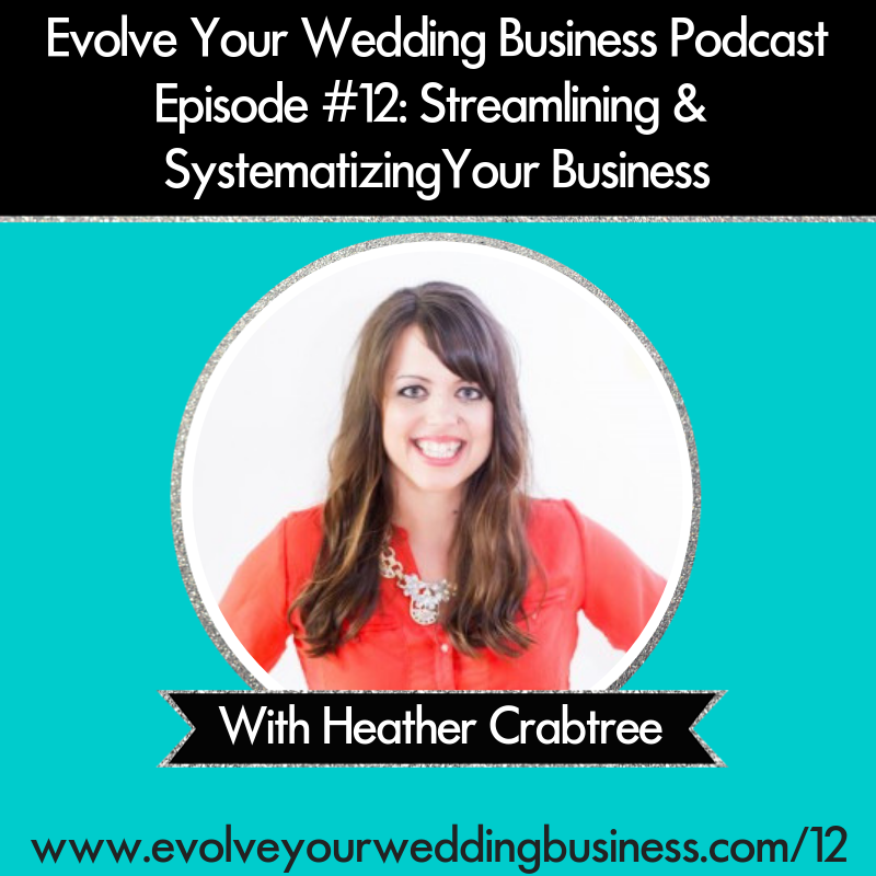 Evolve Your Wedding Business Podcast Episode #12: Streamlining & Systematizing Your Business With Heather Crabtree
