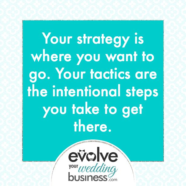 Your strategy is where you want to go. Your tactics are the intentional steps you take to get there.