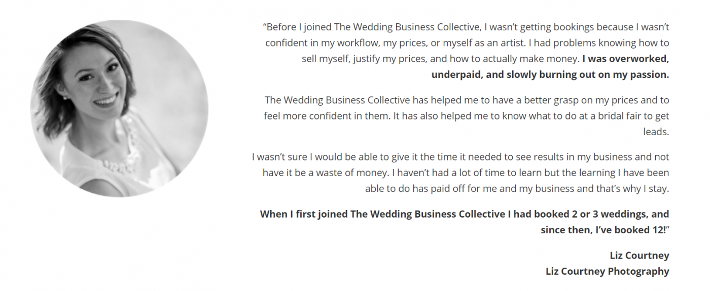 wedding business collective testimonial
